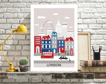 London Print, London art print, printable wall art. Travel city poster, wall decor, London digital print. INSTANT DOWNLOAD.