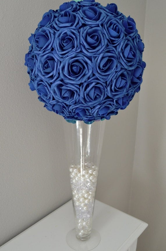 NAVY BLUE Real Touch Foam Flower Ball Wedding By KimeeKouture