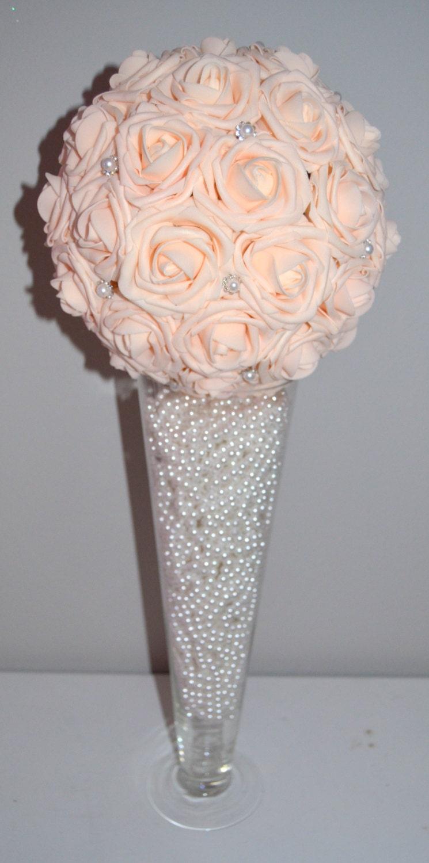 Pink blush bling pearl brooch elegant wedding foam by