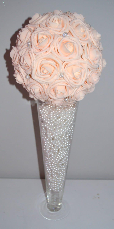 Floral Sphere Centerpiece : Pink blush bling pearl brooch elegant wedding foam by