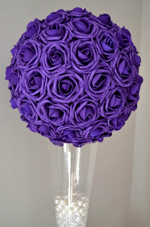 Purple kissing ball wedding centerpiece pomander flower