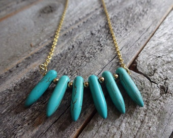 Howlite Turquoise Spikes with Gold Bead Accents