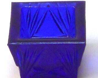 Salt Cellar Square Shape in Cobalt Blue Glass