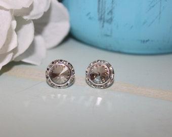 Crystal Silver Shade Post Earrings 13mm Rivoli
