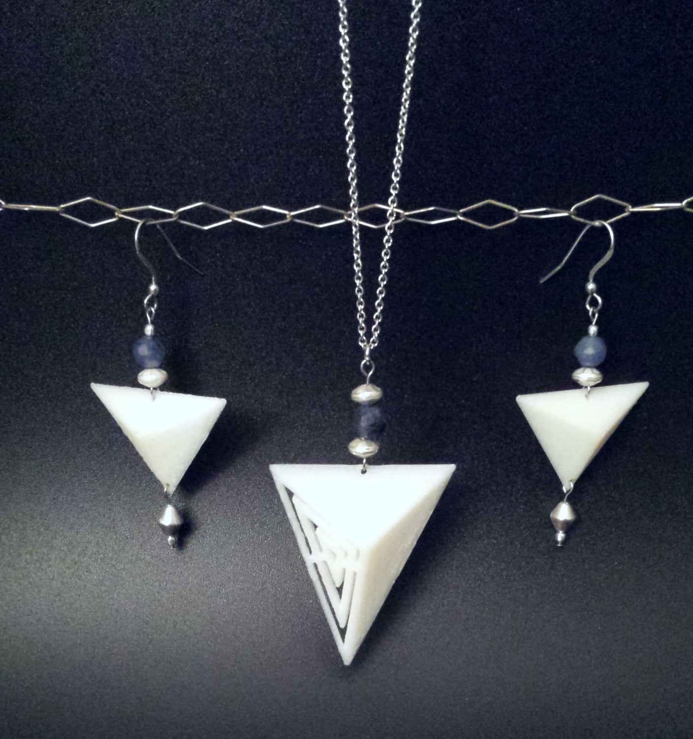 3D Printed Jewelry Geo Bold Necklace And Earrings By