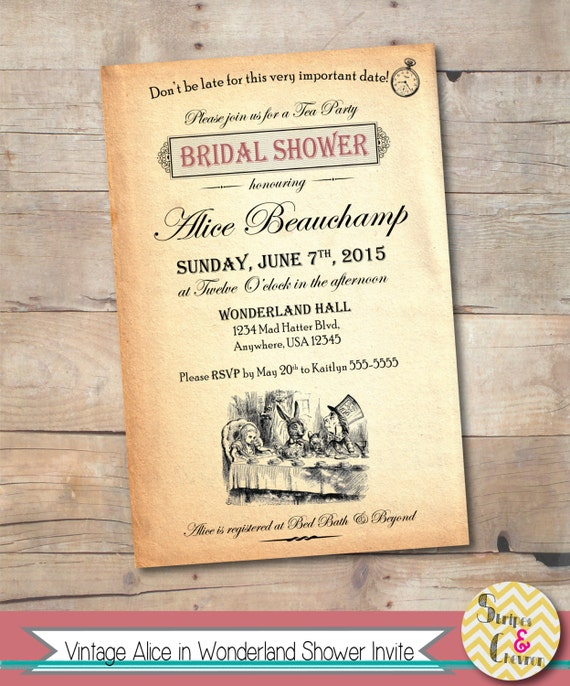 Alice in Wonderland Bridal Shower Invitation Vintage Mad