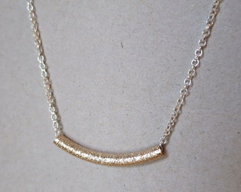 Silver Plated Necklace with a Champagne Gold Stardust Bar