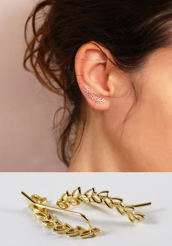 Leaves Ear pin    Ear Climber  Gold Ear Cuff   by sigalitaJD