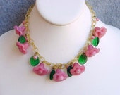 Miriam Haskell Attributed Choker Necklace Pink Glass Flower With Celluloid Chain Green Leaves Vintage Art Deco Venetian Costume Jewelry