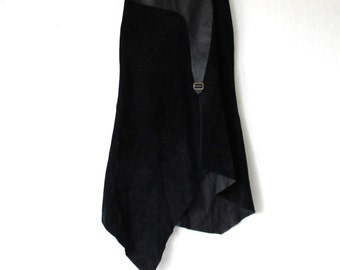 Black Asymmetric Suede Leather Skirt  High Waist  A line Maxi Skirt Medium Size