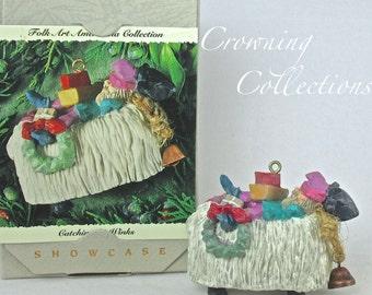 1994 Hallmark Catching 40 Winks Ornament Folk Art Americana Collection Lamb Elf Showcase Keepsake Raring Rarin'