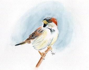 Sparrow - Original Watercolor and India Ink Painting - Bird Painting - Animal Portrait - nature, bird art