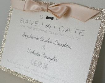 Bow-Tie Glitter Save the Date // Bridal & Baby Shower // Birthdays // Bat Mitzvah // Sweet Sixteen