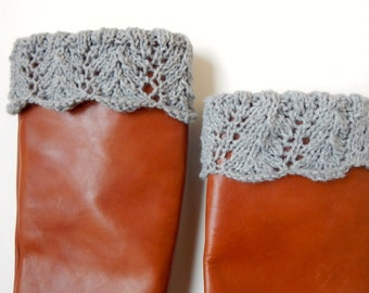 Boot Socks for Women, Boot cuff socks, Boot Socks Lace / THE IMNAHA  / stone grey