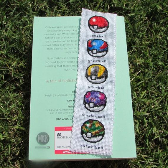 Pokeballs Cross Stitch bookmark (Pokemon)