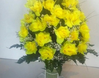 Large open yellow rose memorial vase with white baby's breath