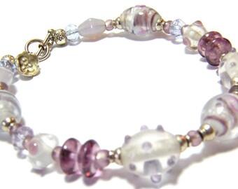 Glass Bead Bracelet, Purple Bracelet, Purple Bead Bracelet, Lampwork Bracelet, Sterling Silver Bead Bracelet, Purple Beaded Bracelet
