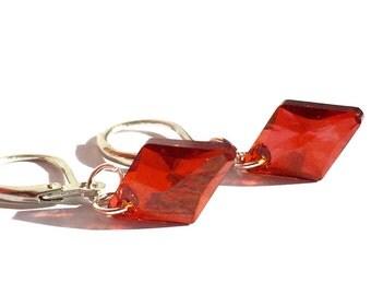 Swarovski Rhombus Earrings, Red Swarovski Earrings, Swarovski Crystal Earrings, Swarovski  Jewelry