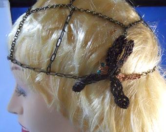 Antique Brass Chain Skullcap/Beanie with Copper and Black Tatted Dragonfly