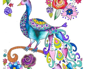 Betty the Peahen Giclee Print