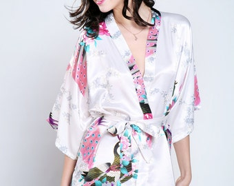 Ready To Ship The Silk Kimono Satin Robes Wedding Gifts Getting Ready Robes Bridal Party Robes Floral Robes Dressing Gown Ready Hair Robes