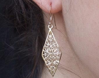 Gold Earrings, Rhombus Earrings,Dangle Earrings, Drop Earrings, Oriental Earrings, Yellow Gold Earrings, Geometric Earrings