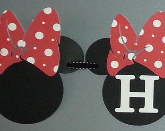 Minnie Mouse Happy Birthday Banner Personalized With Your Child's Name in Red