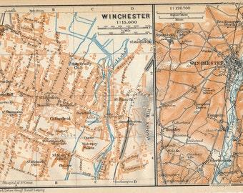 1910 Winchester United Kingdom (Great Britain) Antique map