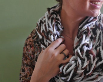 Handmade Brown and White Arm Knit Cowl Infinity Scarf