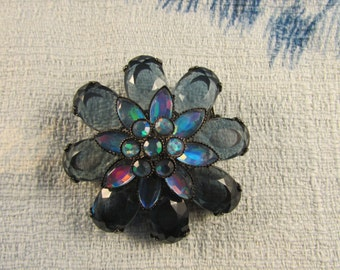 Retro-style flower brooch, smoky blue & Aurora Borealis stones