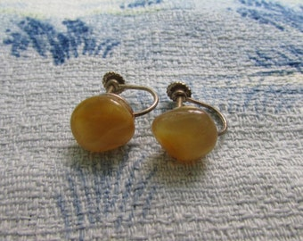 Circa 1940s silver-tone amber-coloured polished stone screw-back earrings
