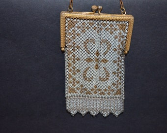 Mandalian Mesh Purse / Mandalian Mesh Bag / Art Deco Purse / 1920s Flapper Bag / Metal Enamel Purse / Metal Mesh Bag