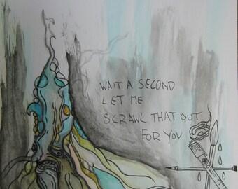 Illustration- colorful art- Original Artwork- watercolor art- Alien Art- low brow- fantasy art- small art- ooak- face art- hidden image