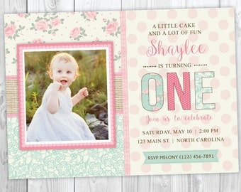 First Birthday Invitation With Photo- Shabby Chic Burlap and Lace Invite - 1st Birthday Invitation