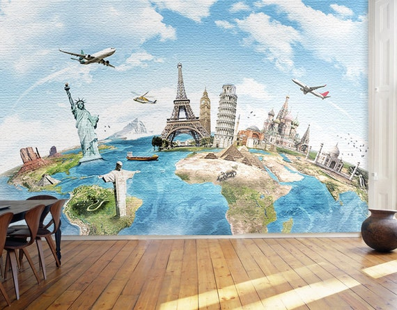 Children 39 s world map wallpaper fly over continents wall for Blue world map wall mural