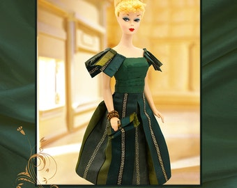 Handmade Clothes for Barbie- Green Taffeta Vintage Dress-2 Bracelets-Shoes