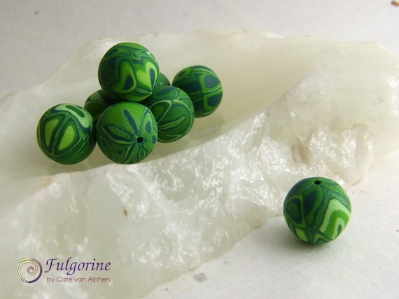 Unique green polymer clay art beads, round 12mm diameter