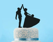 Silhouette Bride & Groom wedding Cake Topper,Funny dancing Wedding cake topper,Unique Dancing Silhouette cake topper,engagement cake topper