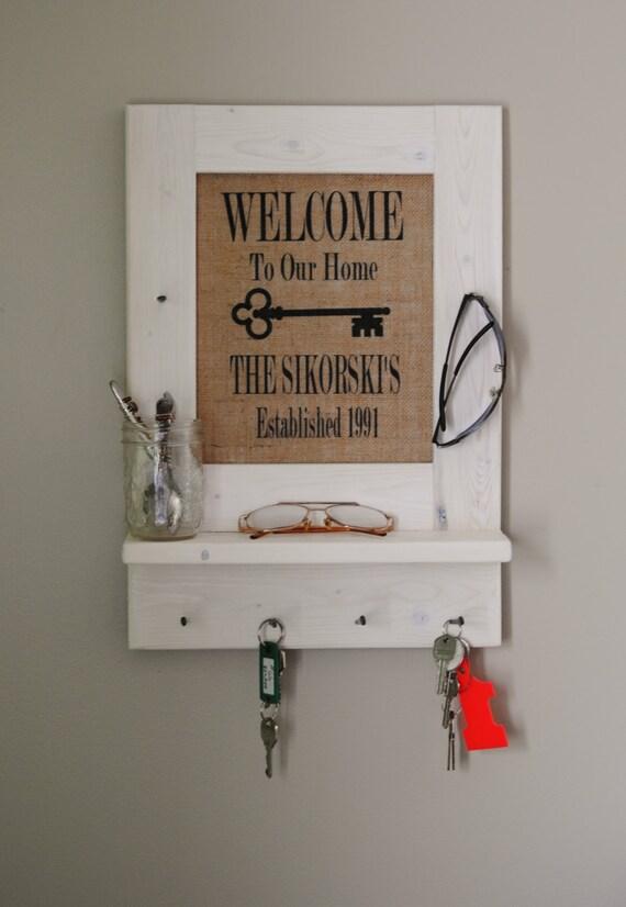 Gone Home Foyer Key : Personalized entryway key holder burlap print by