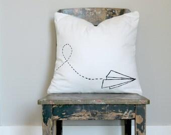 Paper Dart Black on White Canvas Cushion Cover,  Dart decor,  Pillow Cover, Retro Dart Plane, black and white cushion cover, black pillow