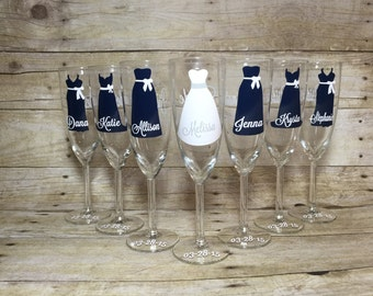 1 Personalized Bride and Bridesmaid Champagne Glasses, Wedding Party Glasses
