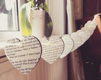 Fandom Bunting- Wooden Heart Bunting Decoupage- Yellow Ribbon- Book Bunting- Novel Decoupage- Wooden Bunting