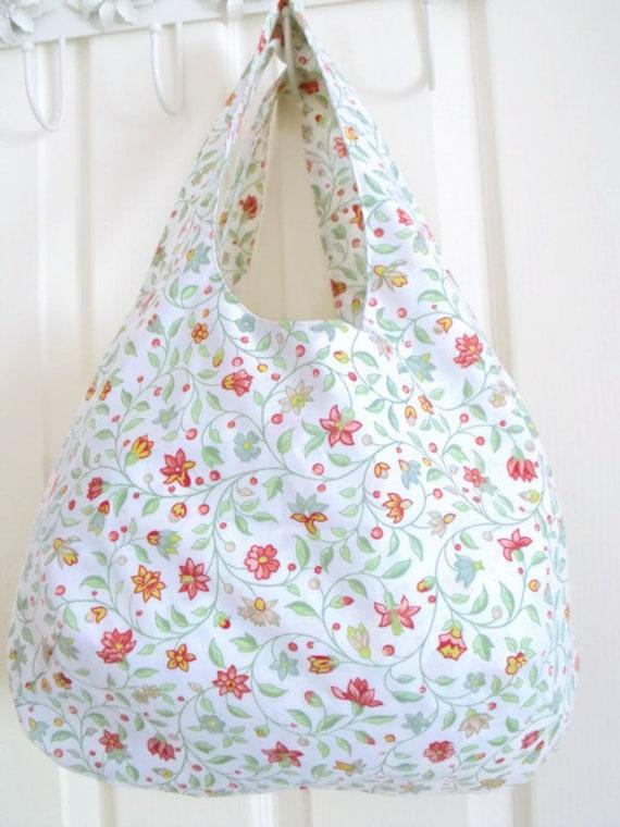upcycled boho shoulder bag, festival tote bag, cotton holiday bag, versatile bag for picnics, holidays, beach, green floral fabric,