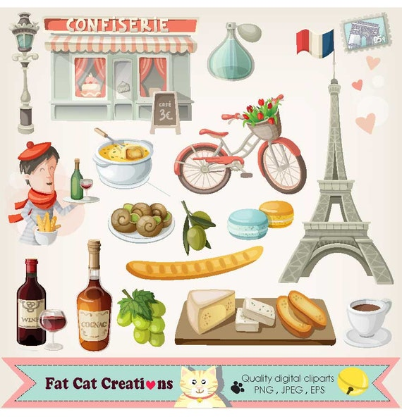 France French food digital clipart symbols of by ...
