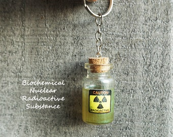 Radioactive Nuclear Toxic Substance Bottle Keychain