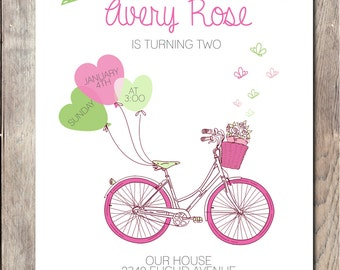 Bicycle Birthday Party Invitation, Girl Birthday Party Invite, Butterfly Invitation, Enjoying the Ride Birthday Party Invite, Girl Birthday