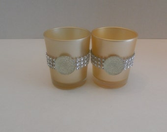 10 Wedding centerpiece, Champagne gold votive glass candle holder, rhinestone tea light holder, table decorarion