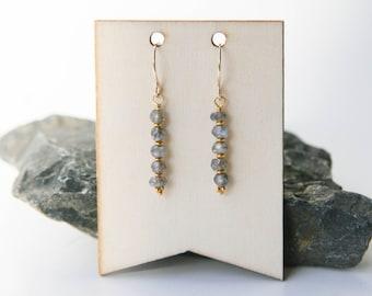 Grey Labradorite dangle earrings on 14k gold wire Graystone studio