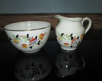 Beautiful Vintage Melba Bone China Creamer and Sugar Bright Floral 1930's China Stunning Pair!!