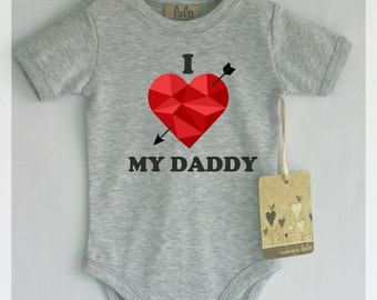 I love my daddy baby clothes. Adorable baby romper with heart print.  Modern baby clothes, many colors available.
